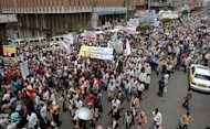 Yemenis march against the regime in the city of Taez in 2011. A blast ripped through a market in the city, killing at least six people, witnesses and a doctor said