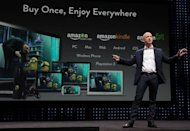 Jeff Bezos, CEO of Amazon, gives a press conference in Santa Monica, California. Analysts said the Amazon upgrades -- as well as launching the hugely popular Fire devices outside the US, starting in Europe later this year -- signaled the online giant has its sights on challenging Apple's longstanding dominance