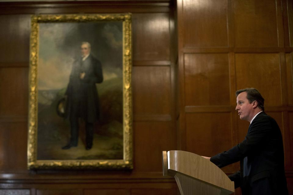 Britain's Prime Minister David Cameron makes a speech on criminal justice in London, Monday, Oct. 22, 2012.  (AP Photo/Matt Dunham-Pool)