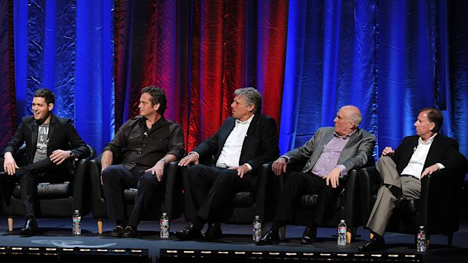 """IMAGE DISTRIBUTED FOR ACADEMY OF TELEVISION ARTS & SCIENCES - (L-R) Singer Michael Buble, NBC President of Late Night Specials and Alternative Paul Telegdy, Executive Producer Brad Lachman, Manager Bruce Allen, and Producer Bill Bracken participate in the Academy of Television Arts & Sciences Presents """"An Evening With Michael Buble"""" at the Wadsworth Theatre on Sunday, April 28, 2013 in Los Angeles, California. (Photo by Frank Micelotta/Invision for the Academy of Television Arts & Sciences/AP Images)"""