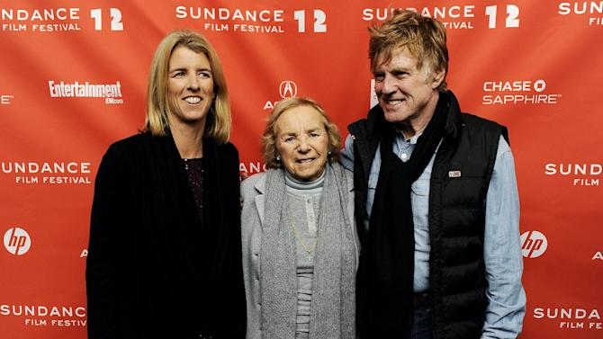 """FILE - In this Jan. 20, 2012 file photo, Ethel Skakel Kennedy, center, subject of the documentary film """"Ethel,"""" poses with her daughter Rory, the film's director, and Robert Redford at the premiere of the film at the 2012 Sundance Film Festival in Park City, Utah. (AP Photo/Chris Pizzello, File)"""
