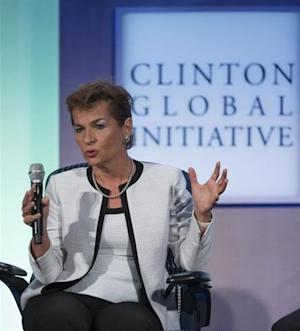 """Christiana Figueres, Executive Secretary, United Nations Framework Convention on Climate Change, takes part in a session labeled """"Vital Resources: Doing More with Less"""" at the Clinton Global Initiative 2013 in New York"""