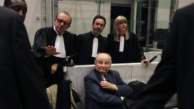 "Jacques Servier, founder of Servier Laboratories, during the opening of the trial of the so-called Mediator case, a drug linked to hundreds of deaths, at Nanterre's court house, outside Paris, Tuesday, May 21, 2013. Between 1976 and 2009, around 5 million people took Mediator, also promoted for weight loss. The drug may have caused between 500 and 2,000 deaths. Mediator's creators, Servier Laboratories, face charges of ""aggravated deception"" (AP Photo/Thibault Camus)"