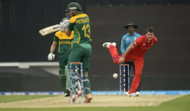 England's Anderson bowls to South Africa's Peterson during the ICC Champions Trophy semi final match at The Oval cricket ground, London