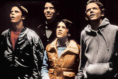 Tyler ( C. Thomas Howell ), Steve ( Sean Frye ), Greg ( K.C. Martel ) and Michael ( Robert McNaughton ) in Universal's E.T. The Extra-Terrestrial