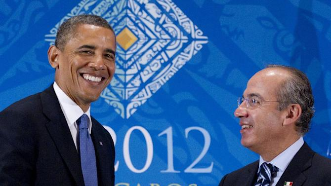 President Barack Obama attends a bilateral meeting with Mexico's President Felipe Calderon during the G20 Summit, Monday, June 18, 2012, in Los Cabos, Mexico. (AP Photo/Carolyn Kaster)