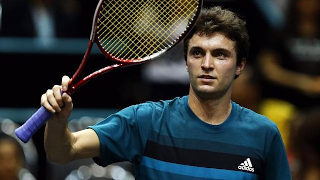 France's Gilles Simon celebrates his victory against Serbia's Janko Tipsarevic in their men's singles semi-final match at the Thailand Open 2012 tennis tournament in Bangkok September 29, 2012 (Reuters)