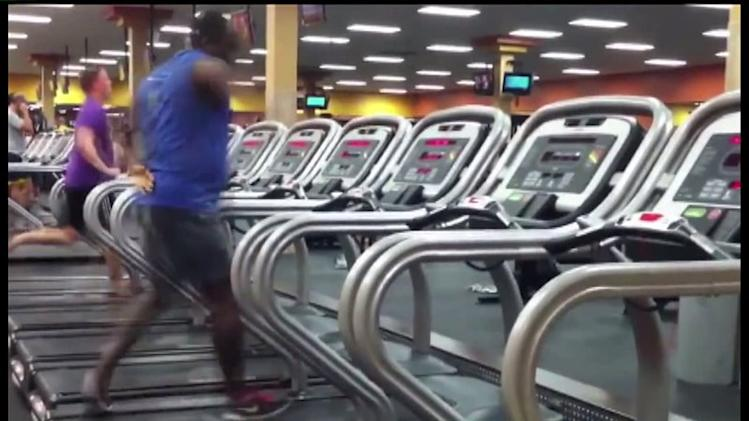 Man Throws Down The Dance Moves On The Gym Treadmill