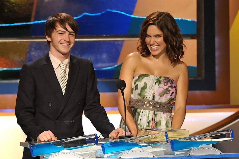Actors Drake Bell and Sophia Bush onstage during the 2008 Teen Choice Awards at Gibson Amphitheater on August 3, 2008 in Los Angeles, California.