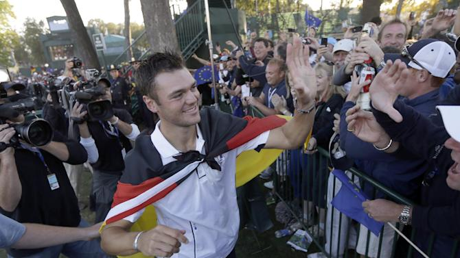 Europe's Martin Kaymer celebrates after winning the Ryder Cup PGA golf tournament Sunday, Sept. 30, 2012, at the Medinah Country Club in Medinah, Ill. (AP Photo/David J. Phillip)