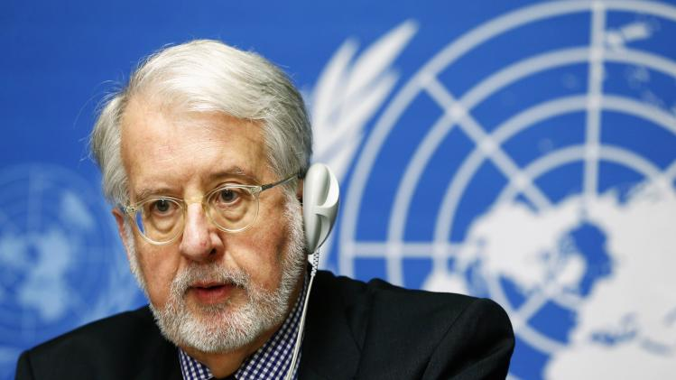 Chief investigator Paulo Pinheiro, member of Independent International Commission of Inquiry on Syrian Arab Republic, attends news conference at United Nations headquarters in Geneva