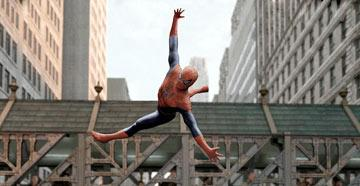 Spider-Man ( Tobey Maguire ) flies high in Columbia Pictures' Spider-Man 2