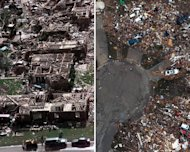 """This combination of Associated Press file photos shows left, a neighborhood in Moore, Okla., on Tuesday, May 4, 1999, after a tornado flattened many houses and buildings in central Oklahoma, and right, flattened houses in Moore on Tuesday, May 21, 2013. This week's twister killed 24 people, obliterated entire city blocks and caused damage that's expected to top $2 billion. Four tornadoes have hit the town since 1998, including one in 1999 that everyone just calls the """"May 3 tornado,"""" which had 300 mph winds and killed more than 40 people. (AP Photo/J. Pat Carter; Tony Gutierrez)"""
