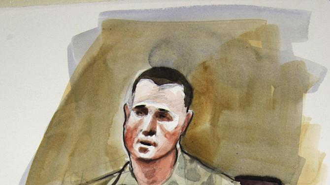 In this courtroom sketch, Sgt. Jason McLaughlin, a prosecution witness in the preliminary hearing of U.S. Army Staff Sgt. Robert Bales, is shown Monday, Nov. 5, 2012, on the stand in a military courtroom at Joint Base Lewis McChord in Washington state. Bales is accused of 16 counts of premeditated murder and six counts of attempted murder for a pre-dawn attack on two villages in Kandahar Province in Afghanistan in March, 2012. (AP Photo/Lois Silver)
