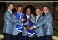 (left to right) Justin Rose, Lee Westwood, Jose Maria Olazabal, Luke Donald and Ian Poulter pose with the Ryder Cup after Europe defeated the USA 14.5 to 13.5 to retain the trophy