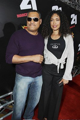 Laurence Fishburne and Gina Torres at the Las Vegas premiere of Columbia Pictures' 21