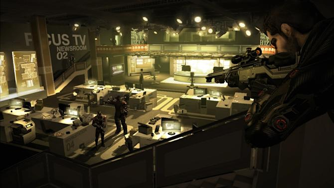 "In this video game image released by Square Enix, Spy Adam Jensen looks for clues in a media company's headquarters in a scene from, ""Deus Ex: Human Revolution."" (AP Photo/Square Enix)"