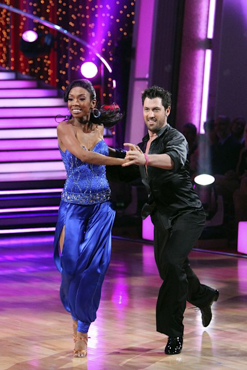"Maksim Chmerkovskiy and Brandy perform on ""Dancing with the Stars."""