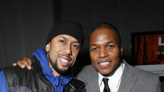 """Affion Crockett and Director Sheldon Candis attend the LA premiere of """"Luv"""" at the Pacific Design Center on Thursday, Jan. 10, 2013, in West Hollywood, California. (Photo by Todd Williamson/Invision/AP)"""