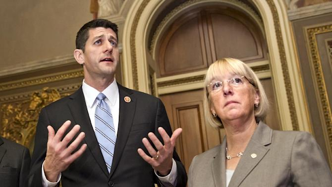 FILE - This Oct. 17, 2013, file photo shows House Budget Committee Chairman Rep. Paul Ryan, R-Wis., left, and Senate Budget Committee Chair Patty Murray, D-Wash., on Capitol Hill in Washington. Bipartisan budget negotiators are working toward a modest budget agreement to replace tens of billions of dollars in spending cuts this year and next with longer-term savings and revenue from increased fees. Ryan and Murray are hopeful of striking an agreement as early as Tuesday afternoon. (AP Photo/ Scott Applewhite, File)