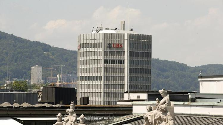 The logo of Switzerland's biggest bank UBS is seen at office building at in Zurich
