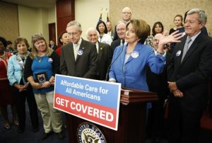 Pelosi and Reid lead a rally to celebrate Obamacare …