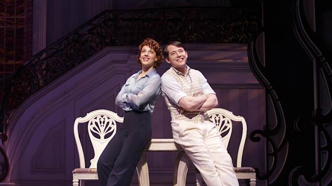 """This theater image released by Boneau/Bryan-Brown shows Jessie Mueller, left, and Matthew Broderick during a performance of """"Nice Work if You Can Get It,"""" in New York. Producers announced Wednesday, April 24, 2013 that the production will play its final performance on Broadway on June 15, 2013. (AP Photo/Boneau/Bryan-Brown, Joan Marcus)"""