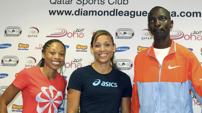 From US runner Allyson Felix, US hurdler Lolo Jones and Kenya's  middle distance runner Asbel Kiprop, during  a press conference on the eve of the IAAF Diamond League series in Doha, Thursday May 5, 2011. (AP Photo/Osama Faisal)