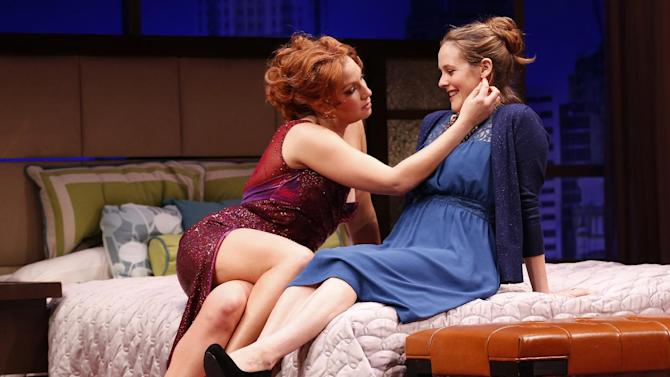 "This theater image released by Sam Rudy Media Relations shows Ari Graynor, left, and Alicia Silverstone during a performance of ""The Performers,"" in New York. (AP Photo/Sam Rudy Media Relations, Carol Rosegg)"