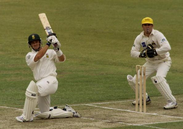 7 Dec 2001:  Mark Boucher of South Africa hits out, during day one of the four day tour match between Western Australia and South Africa, played at The WACA, Perth, Australia. DIGITAL IMAGE. Mandatory