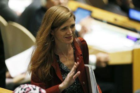 US Ambassador to the United Nations Samantha Power arrives at the 69th United Nations General Assembly in New York
