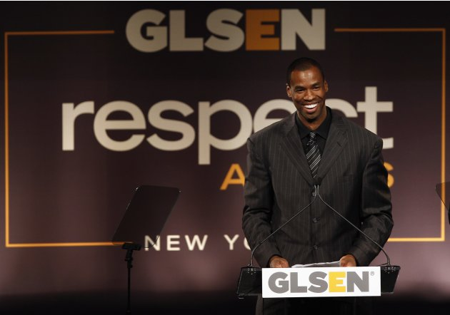 NBA basketball player Jason Collins speaks after being presented with the Courage Award, at the annual GLSEN (Gay, Lesbian & Straight Education Network) Respect Awards gala in New York