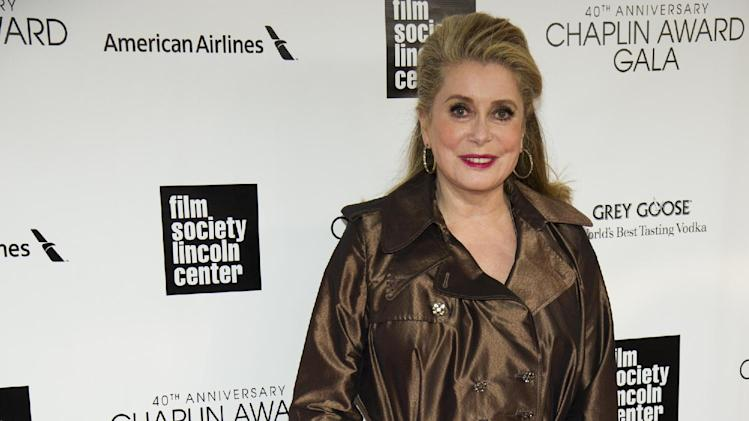 Catherine Deneuve attends the Film Society of Lincoln Center's 40th Annual Chaplin Award Gala honoring Barbra Streisand on Monday, April 22, 2013, in New York. (Photo by Charles Sykes/Invision/AP)