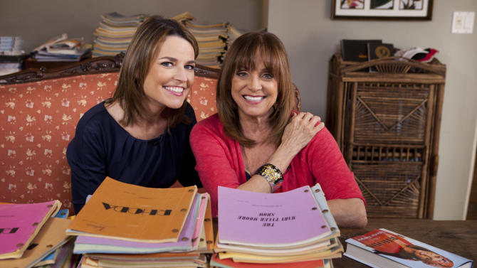 "In this undated photo provided by NBC, Valerie Harper, right, poses with Savannah Guthrie of NBC's ""Today"" at Harper's home in Los Angeles. In her first TV interview since disclosing her diagnosis last week, the 1970s sitcom star tells Guthrie that ""'incurable' is a tough word."" It is scheduled to air on Monday, March 12, 2013. (AP Photo/NBC)"