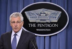 U.S. Secretary of Defense Hagel makes remarks to the press on looming budget cuts at the Pentagon