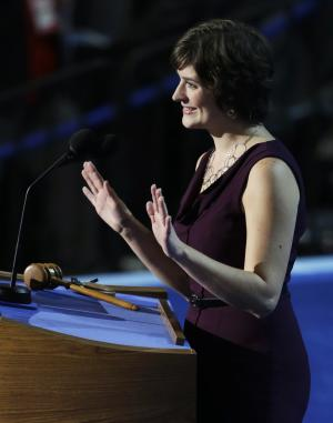 Sandra Fluke, attorney and women's rights activist, speaks to delegates at the Democratic National Convention in Charlotte, N.C., on Wednesday, Sept. 5, 2012. (AP Photo/Lynne Sladky)