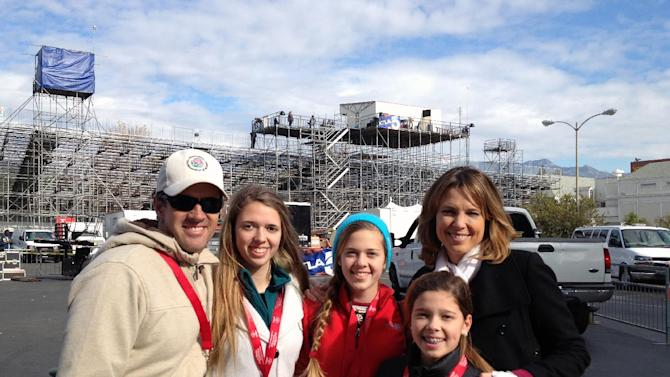 In this photo provided by Hannah Storm, ESPN anchor Hannah Storm, right, poses for a photo with her family, from left, husband Dan Hicks and daughters Hannah, Ellery and Riley on the parade grounds of the Rose Parade on Tuesday, Jan. 1, 2013, in Pasadena, Calif. Storm hosted the Rose Parade telecast Tuesday in her first on-air appearance since sustaining first- and second-degree burns to her face, hands, chest and neck in a propane gas grill accident Dec. 11. (AP Photo/Courtesy Hannah Storm)