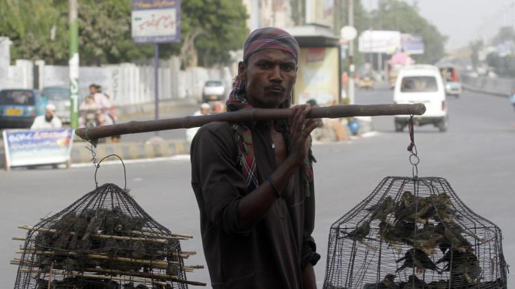 A street vendor sells birds after Eid al-Fitr prayers in Karachi