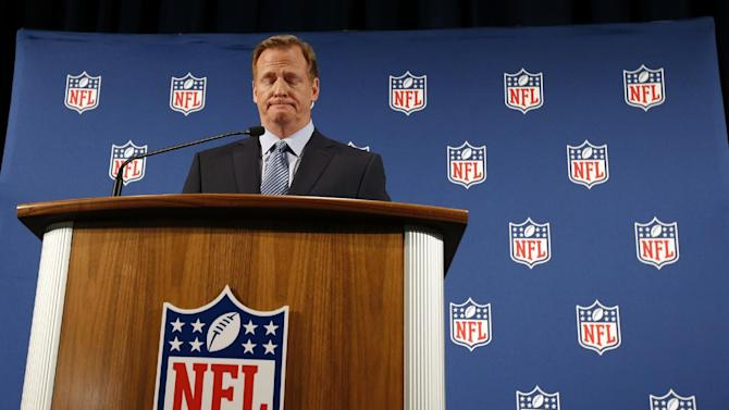 NFL Commissioner Roger Goodell pauses as he speaks during a news conference Friday, Sept. 19, 2014, in New York. Goodell says the NFL wants to implement new personal conduct policies by the Super Bowl. The league has faced increasing criticism that it has not acted quickly or emphatically enough concerning the domestic abuse cases. The commissioner reiterated that he botched the handling of the Ray Rice case.  (AP Photo/Jason DeCrow)