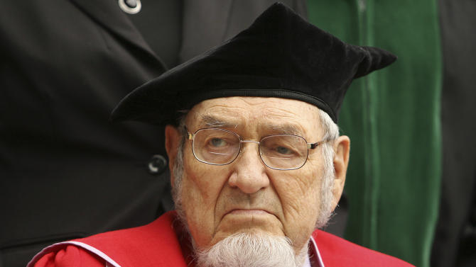 FILE - In this Sept. 22, 2009 file photo, Dartmouth Alumni and former Surgeon General Dr. C Everett Koop participates in the inauguration ceremony for Dartmouth College's new President Jim Yong Kim in Hanover, N.H.  Koop, who raised the profile of the surgeon general by riveting America's attention on the then-emerging disease known as AIDS and by railing against smoking, died Monday, Feb. 25, 2013, in Hanover. He was 96. (AP Photo/Jim Cole, File)