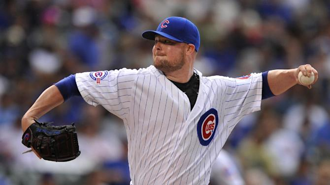 Chicago Cubs starter Jon Lester delivers a pitch during the first inning of a baseball game against the Philadelphia Phillies Friday, May 27, 2016, in Chicago. (AP Photo/Paul Beaty)