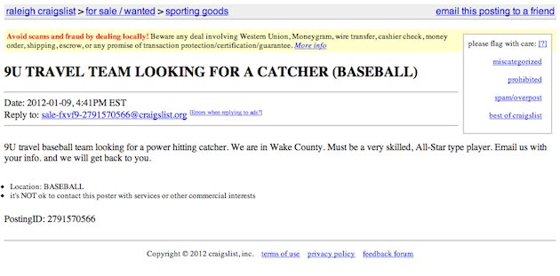 Craigslist posting for a baseball travel team player — Craigslist
