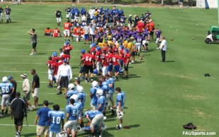 Florida Atlantic University padded football camp
