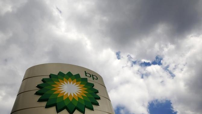 Signage for a BP petrol station is pictured in London