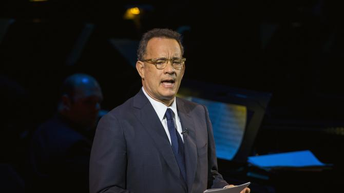 "Actor Tom Hanks speaks on stage at ""An Evening of SeriousFun Celebrating the Legacy of Paul Newman"" event in New York"