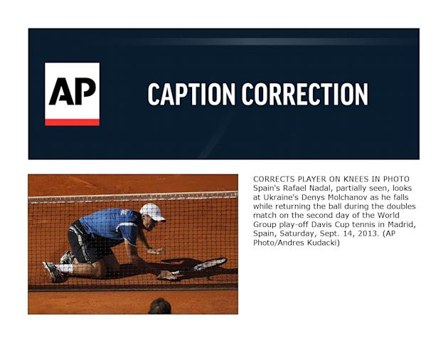 CORRECTION Spain Ukraine Tennis Davis Cup