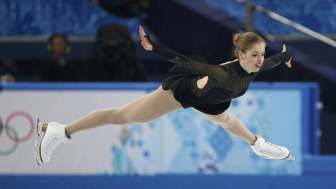 Carolina Kostner during women's free skating program at 2014 Sochi Winter Olympics