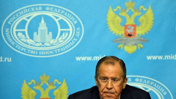 Russian Foreign Minister Sergei Lavrov speaks during a news conference in Moscow on August 25, 2014