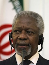 United Nations and Arab League envoy for the crisis in Syria Kofi Annan speaks during a joint press conference with Iranian Minister for Foreign Affairs Ali Akbar Salehi (unseen) in Tehran on July 10. Pressure mounted on Syrian strongman Bashar al-Assad on Wednesday as Western powers sought a UN resolution that would give him 10 days to silence his heavy guns or face tough sanctions