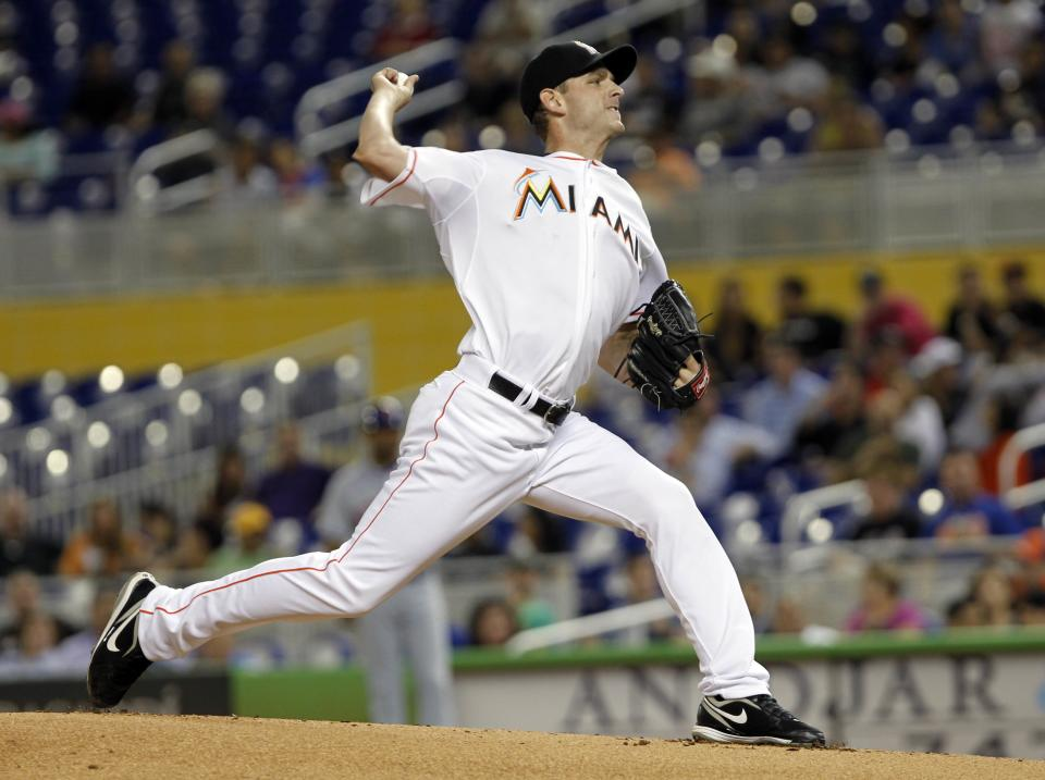 Miami Marlins' Jacob Turner pitches to the New York Mets in the first inning of a baseball game in Miami, Tuesday, Oct. 2, 2012. (AP Photo/Alan Diaz)